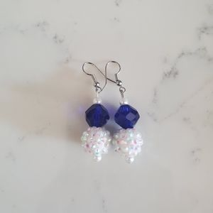 Handmade cobalt blue and white disco earrings